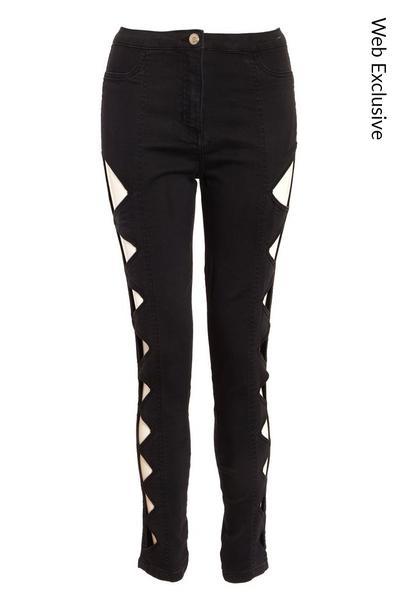 Black Denim Side Cut Out Jeans
